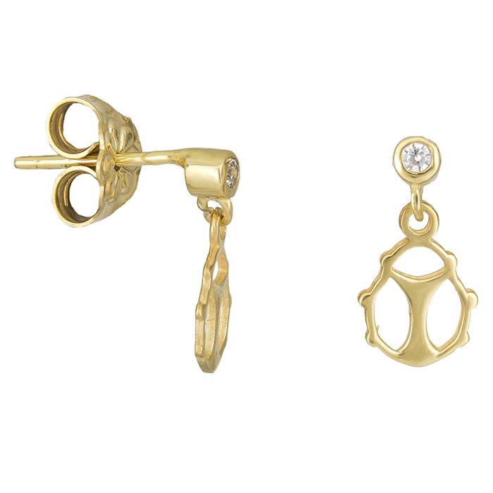 Παιδικά σκουλαρίκια πασχαλίτσα Κ14 με πέτρα 026396 026396 Χρυσός 14 Καράτια
