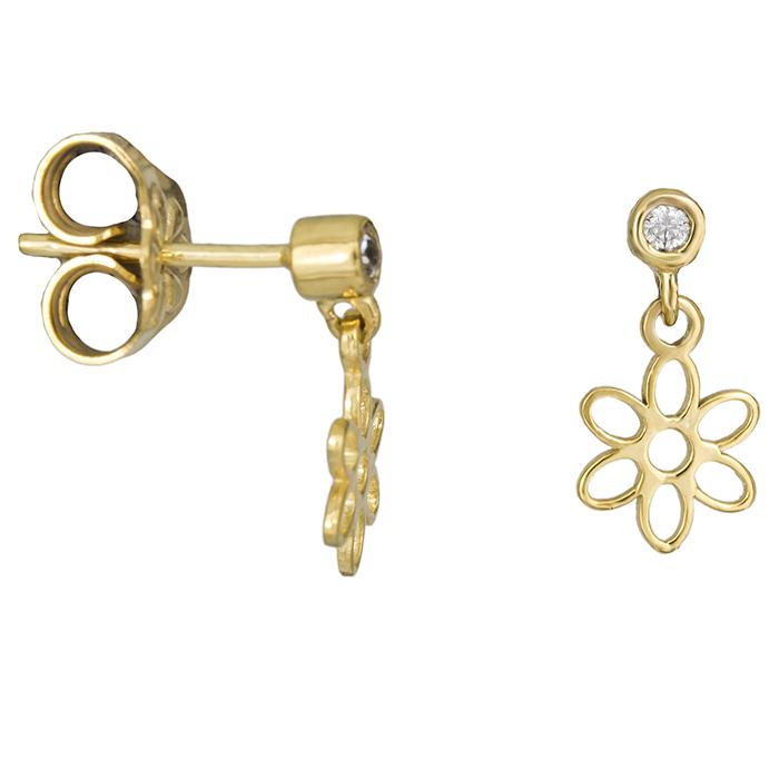 Παιδικά σκουλαρίκια λουλούδι Κ14 με πέτρα 026397 026397 Χρυσός 14 Καράτια