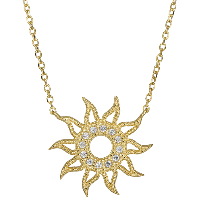 Χρυσό γυναικείο κολιέ ήλιος Κ14 026401 026401 Χρυσός 14 Καράτια