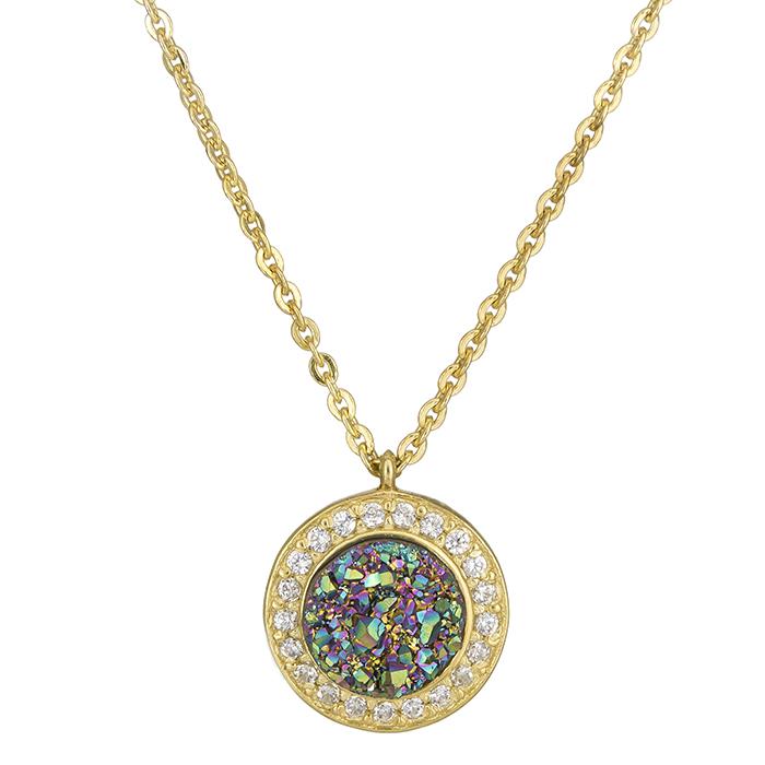 Χρυσό κολιέ ροζέτα Κ14 με green rain πέτρα K14 026402 026402 Χρυσός 14 Καράτια