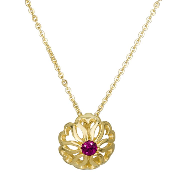 Χρυσό κολιέ γυναικείο Κ14 κόκκινη πέτρα 026404 026404 Χρυσός 14 Καράτια