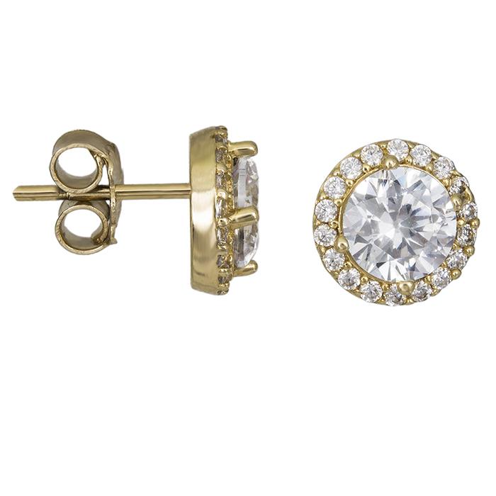 Χρυσά σκουλαρίκια ροζέτες με πέτρες Κ14 026406 026406 Χρυσός 14 Καράτια 6ccd1ff7471