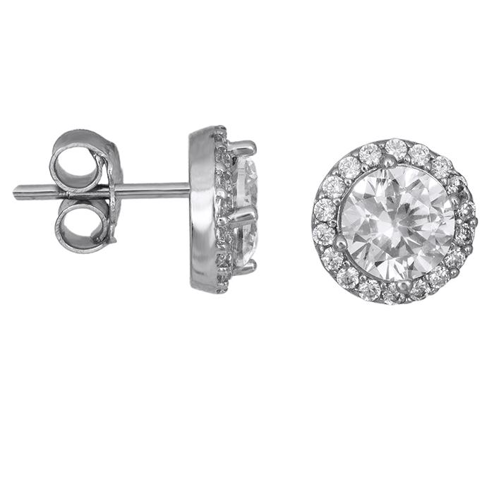 Λευκόχρυσα σκουλαρίκια ροζέτες με πέτρες Κ14 026407 026407 Χρυσός 14 Καράτια