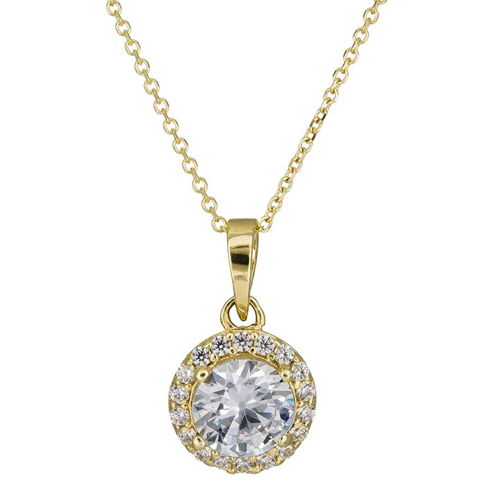 Χρυσό κολιέ ροζέτα Κ14 με πέτρες 026411 026411 Χρυσός 14 Καράτια