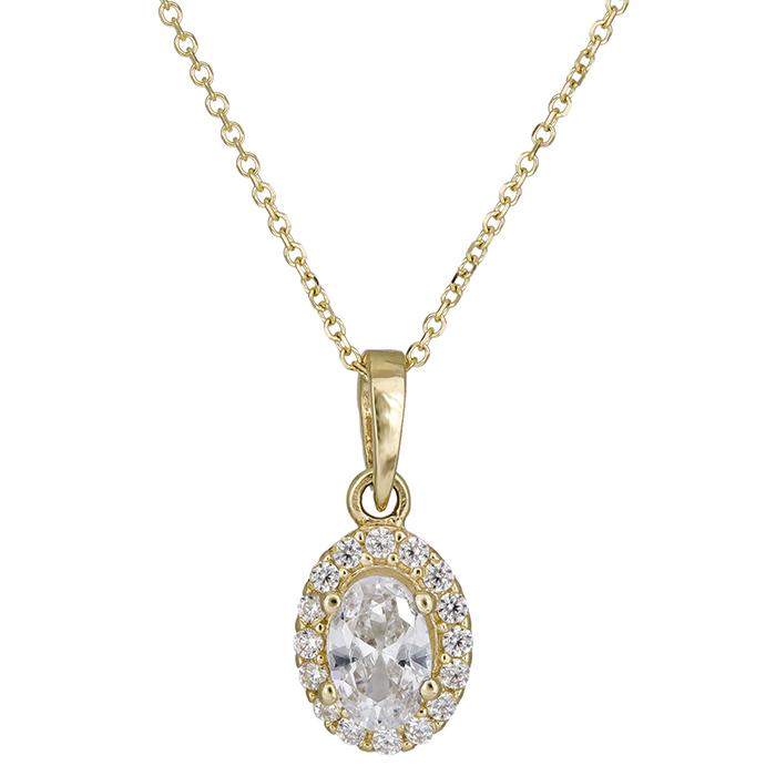 Χρυσό κολιέ δάκρυ Κ14 με συνθ. πέτρες 026413 026413 Χρυσός 14 Καράτια