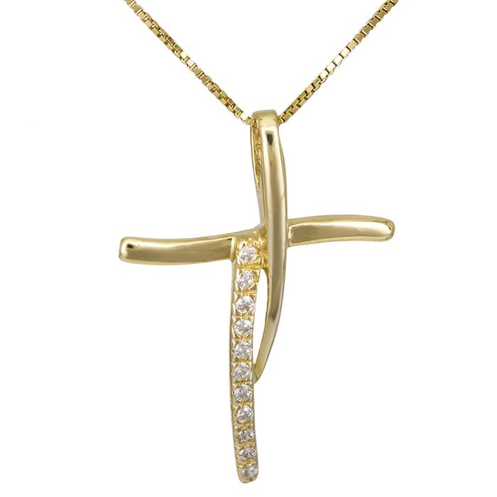 Χρυσός γυναικείος σταυρός Κ14 026418C 026418C Χρυσός 14 Καράτια