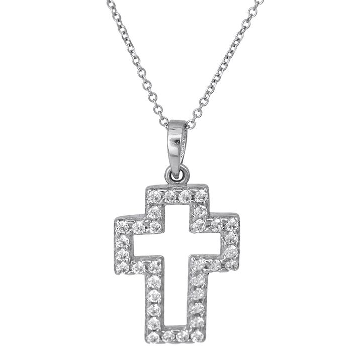 Λευκόχρυσος γυναικείος σταυρός Κ14 026421C 026421C Χρυσός 14 Καράτια