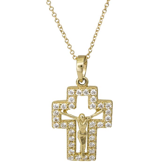 Χρυσός σταυρός Κ14 με τον Εσταυρωμένο 026422C 026422C Χρυσός 14 Καράτια