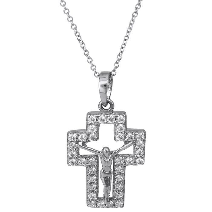 Λευκόχρυσος σταυρός Κ14 με τον Εσταυρωμένο 026423C 026423C Χρυσός 14 Καράτια