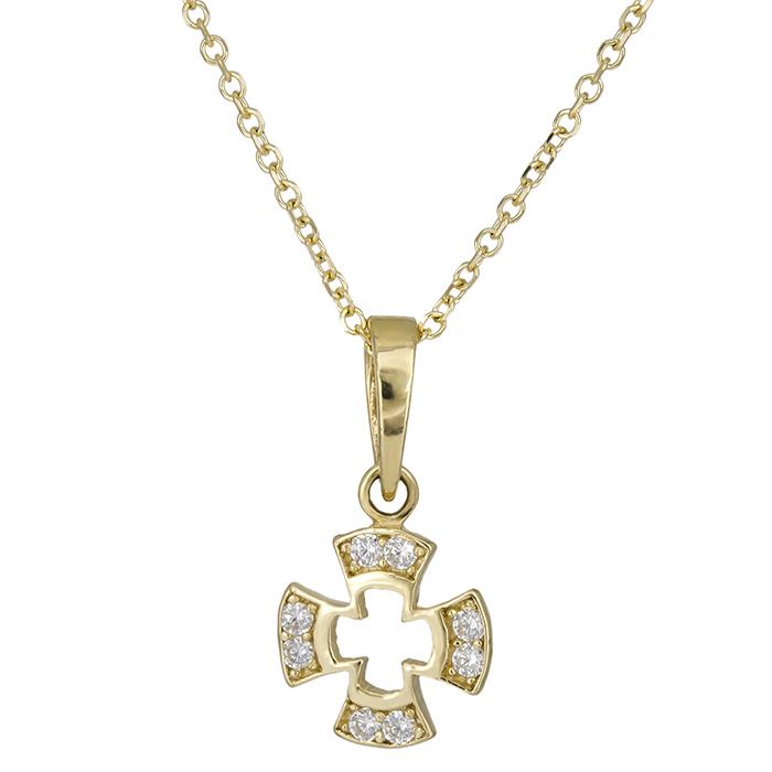 Χρυσός γυναικείος σταυρός Κ14 με πέτρες 026429C 026429C Χρυσός 14 Καράτια