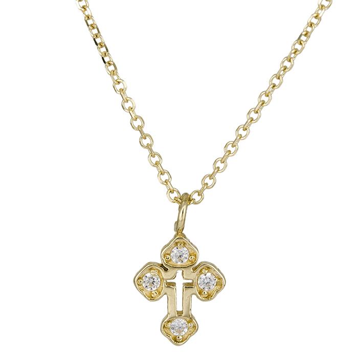 Χρυσό σταυρουδάκι Κ14 με πέτρες 026431C 026431C Χρυσός 14 Καράτια