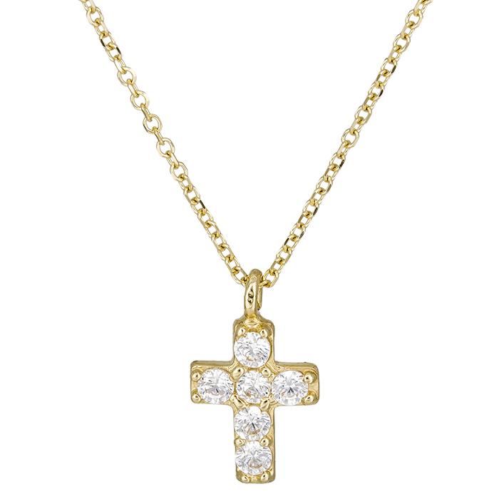 Γυναικείο σταυρουδάκι Κ14 με πέτρες 026433C 026433C Χρυσός 14 Καράτια