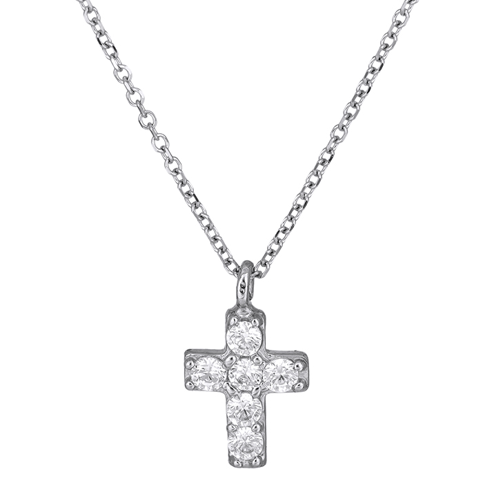 Γυναικείο σταυρουδάκι Κ14 με λευκές πέτρες 026434C 026434C Χρυσός 14 Καράτια
