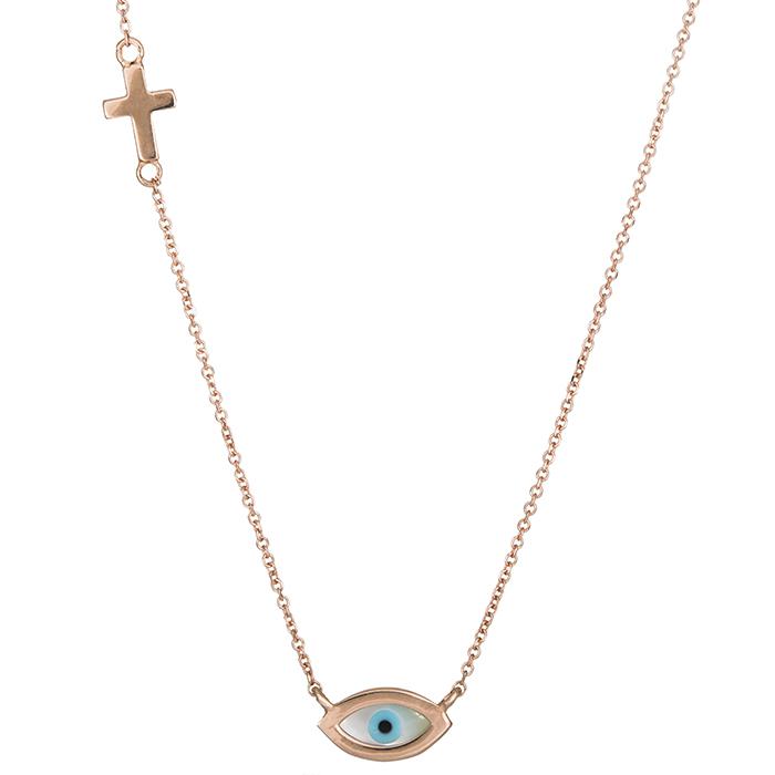 Ροζ gold κολιέ με ματάκι και σταυρό Κ14 026436 026436 Χρυσός 14 Καράτια