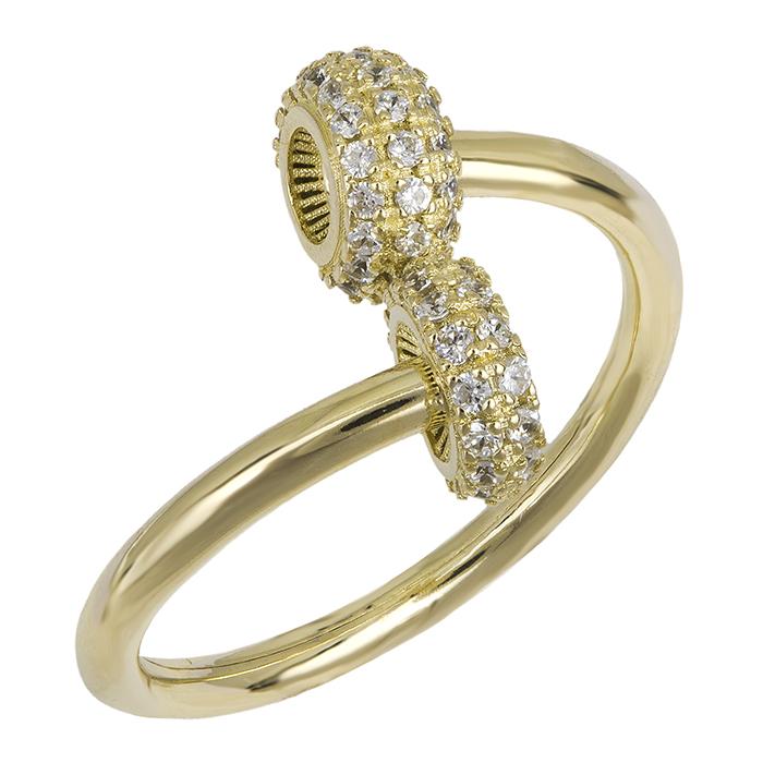 Δαχτυλίδι χρυσό Κ14 με ροδέλες ζιργκόν 026445 026445 Χρυσός 14 Καράτια