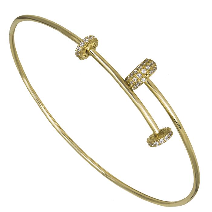 Χρυσή γυναικεία χειροπέδα Κ14 με ζιργκόν 026449 026449 Χρυσός 14 Καράτια