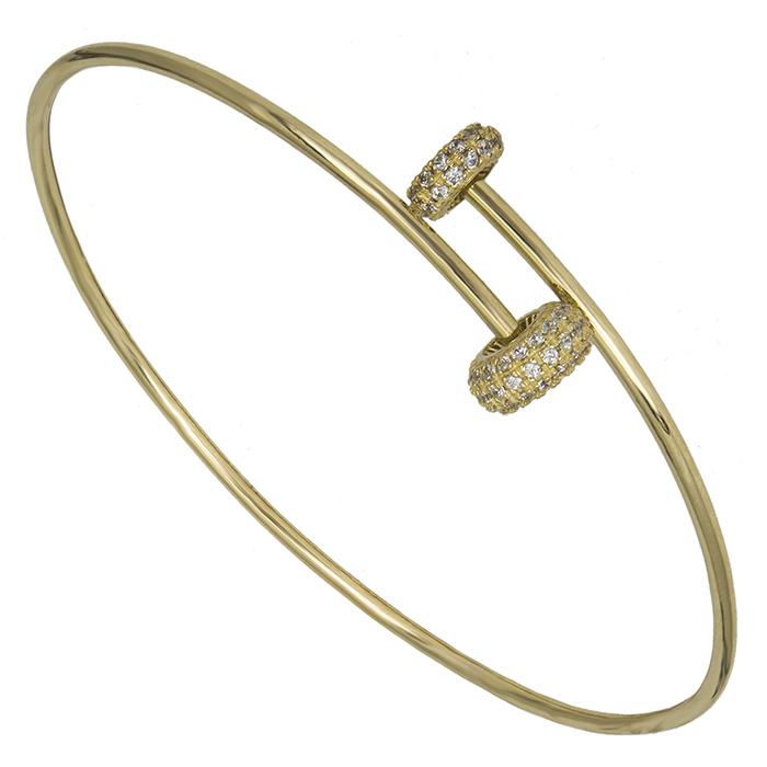 Χειροπέδα χρυσή Κ14 με πέτρες 026450 026450 Χρυσός 14 Καράτια