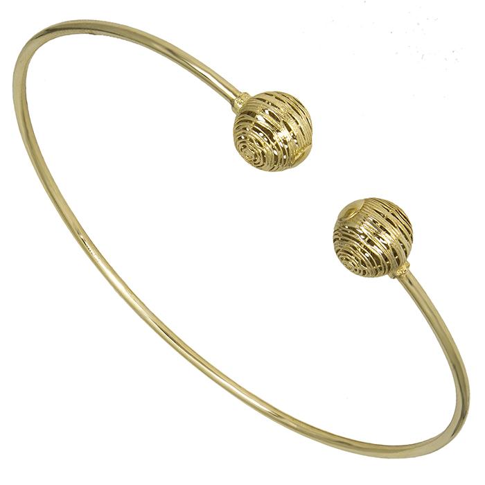 Χρυσή χειροπέδα με ανάγλυφες μπίλιες Κ14 026451 026451 Χρυσός 14 Καράτια