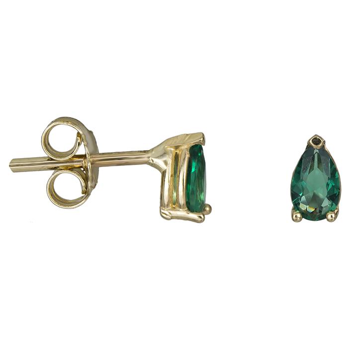 Χρυσά σκουλαρίκια με πράσινη συνθετική πέτρα Κ14 026476 026476 Χρυσός 14 Καράτια