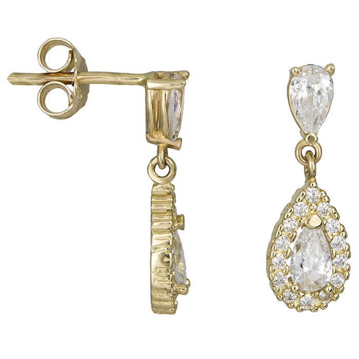 Χρυσά σκουλαρίκια με λευκές ζιργκόν Κ14 026479 026479 Χρυσός 14 Καράτια