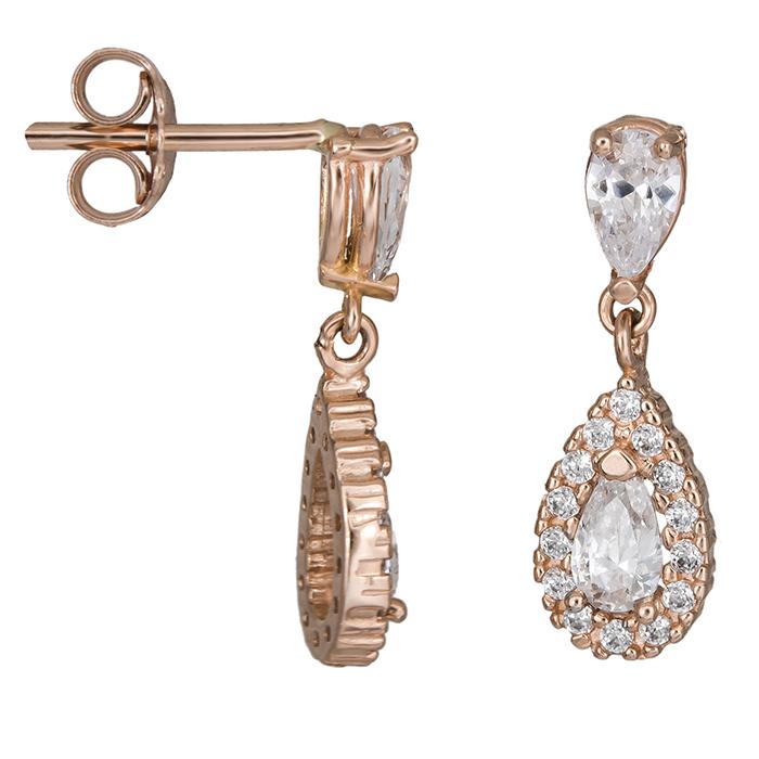 Ροζ gold σκουλαρίκια με λευκές πέτρες Κ14 026481 026481 Χρυσός 14 Καράτια