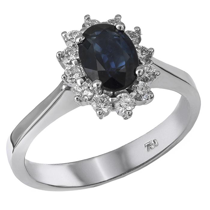 Λευκόχρυσο δαχτυλίδι - ροζέτα με ζαφείρι Κ18 026546 026546 Χρυσός 18 Καράτια
