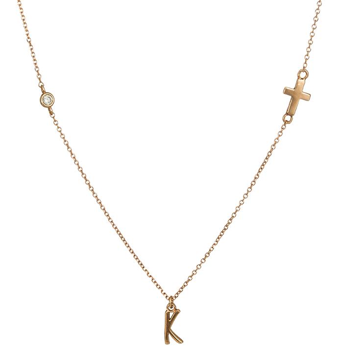 Ροζ gold κολιέ Κ14 με το μονόγραμμα Κ 026554 026554 Χρυσός 14 Καράτια