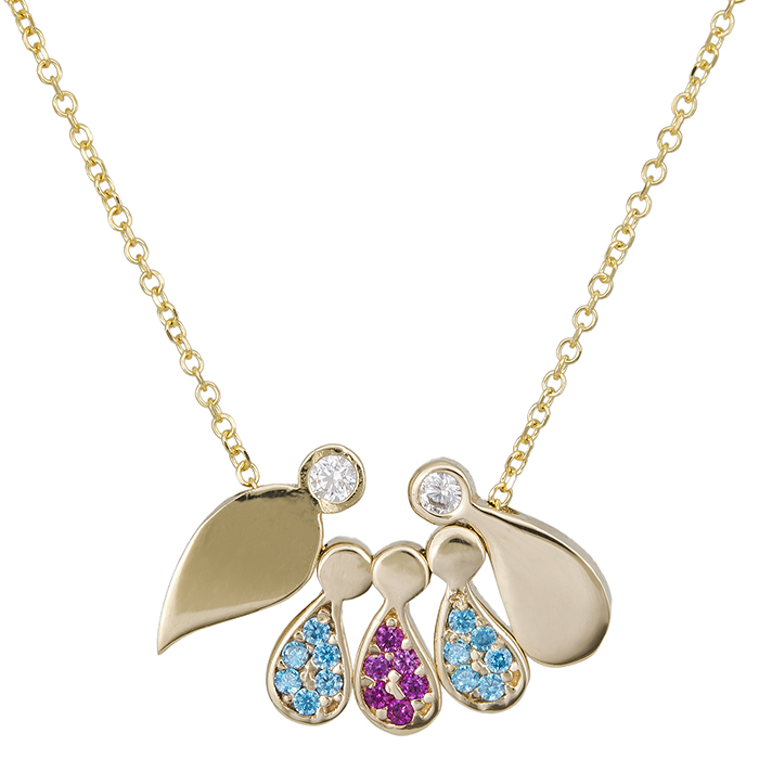 Γυναικείο κολιέ χρυσό Κ14 drops οικογένεια 026565 026565 Χρυσός 14 Καράτια