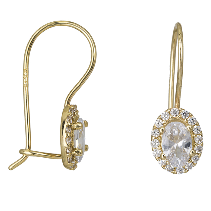 Κρεμαστά σκουλαρίκια ροζέτες Κ14 με ζιργκόν 026572 026572 Χρυσός 14 Καράτια