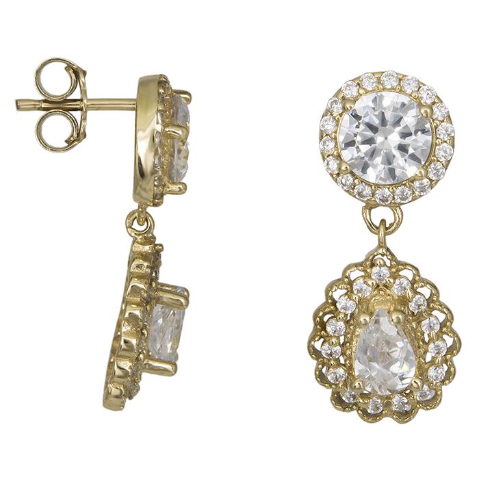 Χρυσά σκουλαρίκια ροζέτες Κ14 με ζιργκόν 026573 026573 Χρυσός 14 Καράτια
