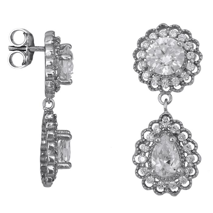 Λευκόχρυσα κρεμαστά σκουλαρίκια Κ14 με πέτρες 026576 026576 Χρυσός 14 Καράτια