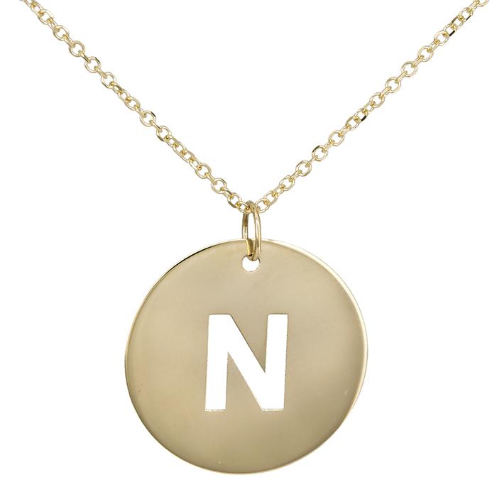 Κολιέ χρυσό με μονόγραμμα 'Ν' Κ14 026643 026643 Χρυσός 14 Καράτια