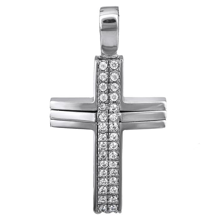 Σταυροί Βάπτισης - Αρραβώνα Γυναικείος λευκόχρυσος σταυρός Κ14 με πέτρες 026662 026662 Γυναικείο Χρυσός 14 Καράτια