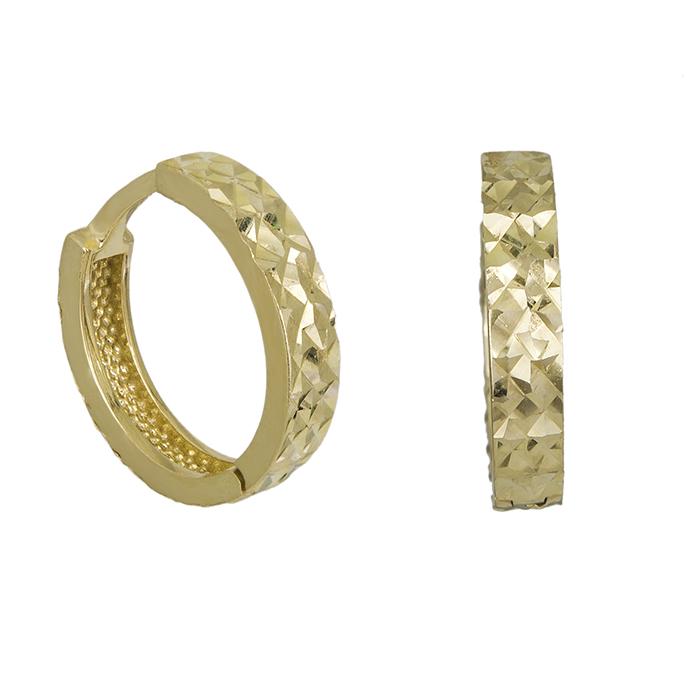 Χρυσοί κρίκοι Κ14 ανάγλυφοι 026670 026670 Χρυσός 14 Καράτια