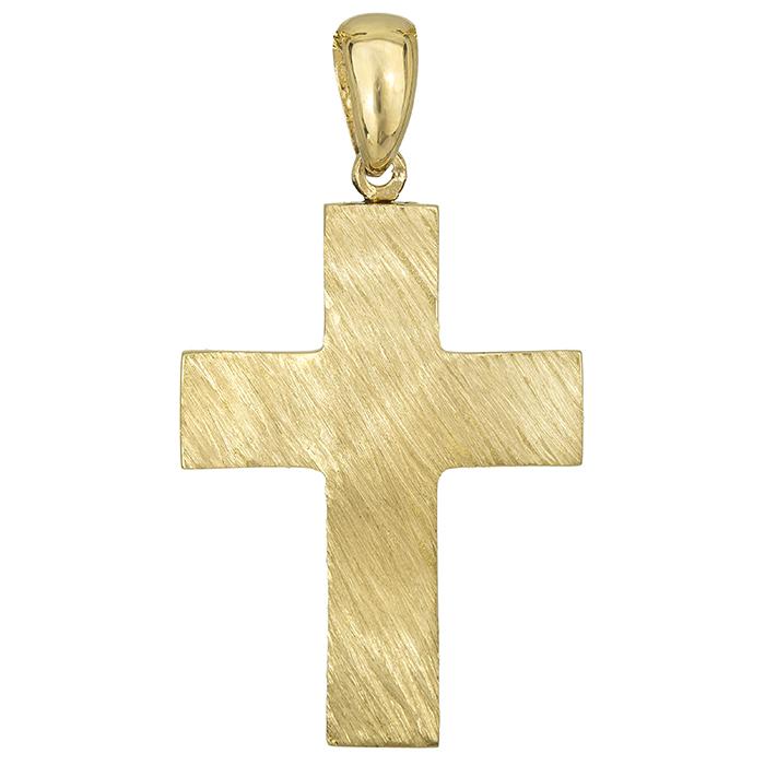 Σταυροί Βάπτισης - Αρραβώνα Αντρικός σταυρός Κ18 ματ ζαγρέ 026671 026671 Ανδρικό Χρυσός 18 Καράτια