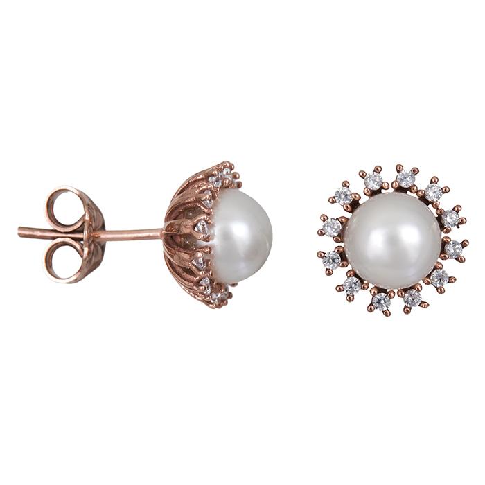 Ροζ gold σκουλαρίκια Κ14 με μαργαριτάρια και ζιργκόν 026681 026681 Χρυσός 14 Καράτια