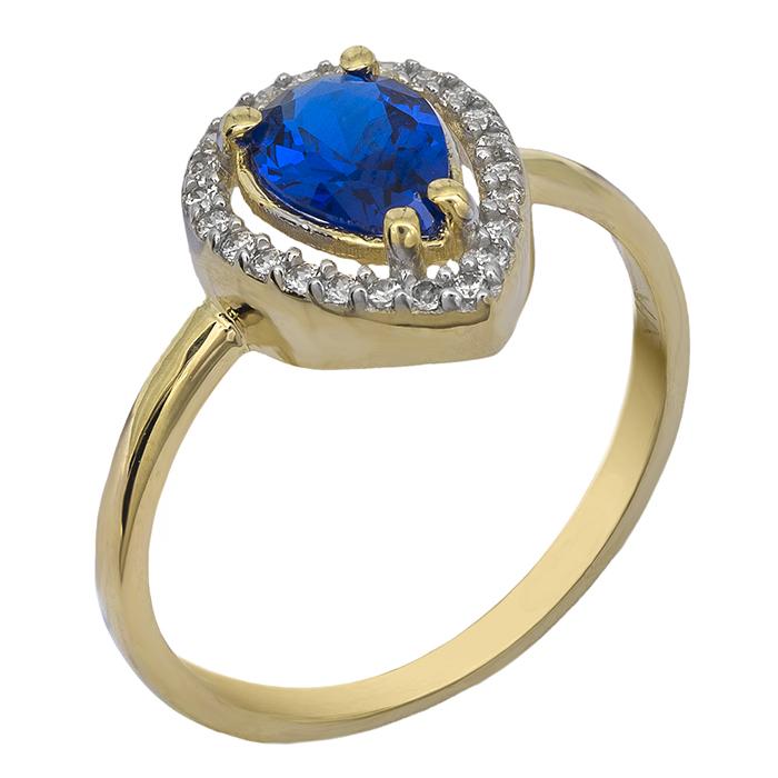 Χρυσό δαχτυλίδι ροζέτα Κ9 με μπλε πέτρα 026693 026693 Χρυσός 9 Καράτια