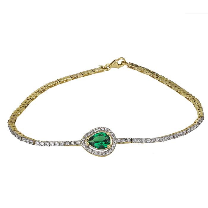 Γυναικείο βραχιόλι Κ9 με πράσινη σταγόνα 026699 026699 Χρυσός 9 Καράτια