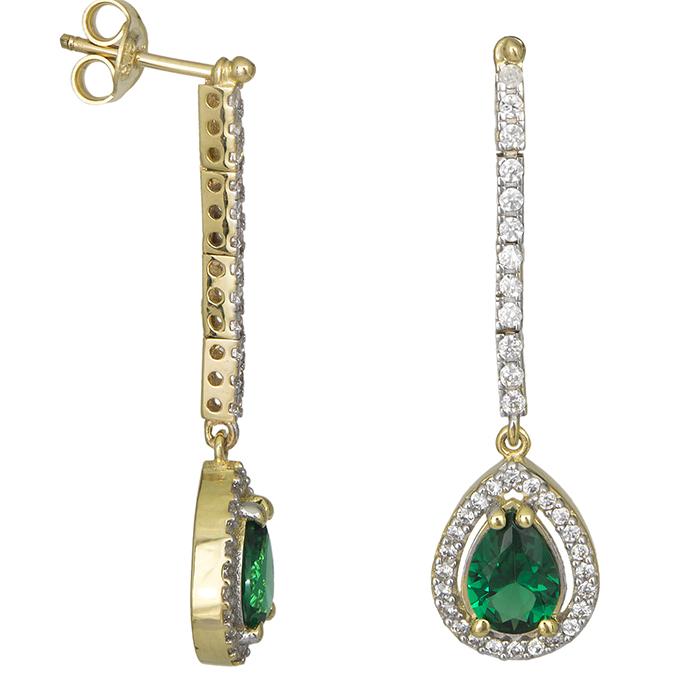 Χρυσά σκουλαρίκια Κ9 πράσινο δάκρυ 026700 026700 Χρυσός 9 Καράτια