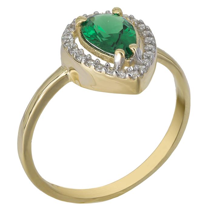 Χρυσό δαχτυλίδι ροζέτα Κ9 με πράσινη πέτρα 026701 026701 Χρυσός 9 Καράτια