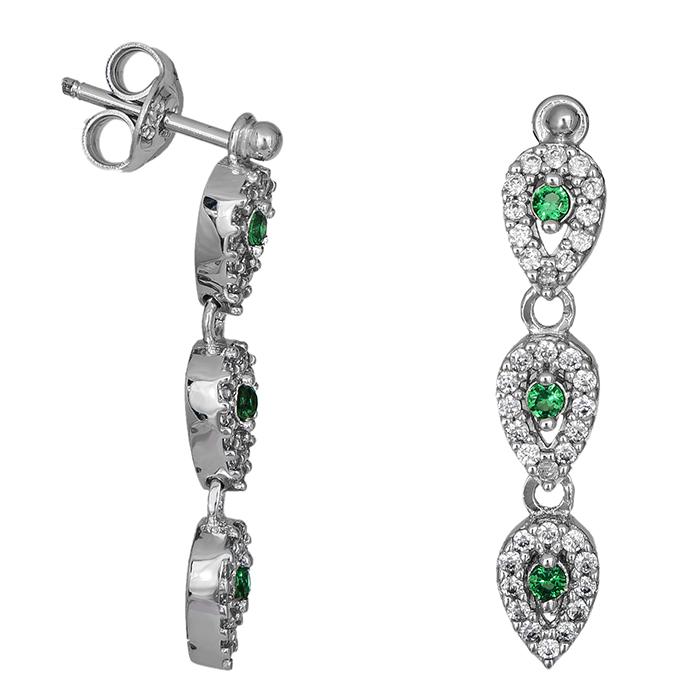 Λευκόχρυσα σκουλαρίκια Κ9 με πράσινες σταγόνες 026707 026707 Χρυσός 9 Καράτια