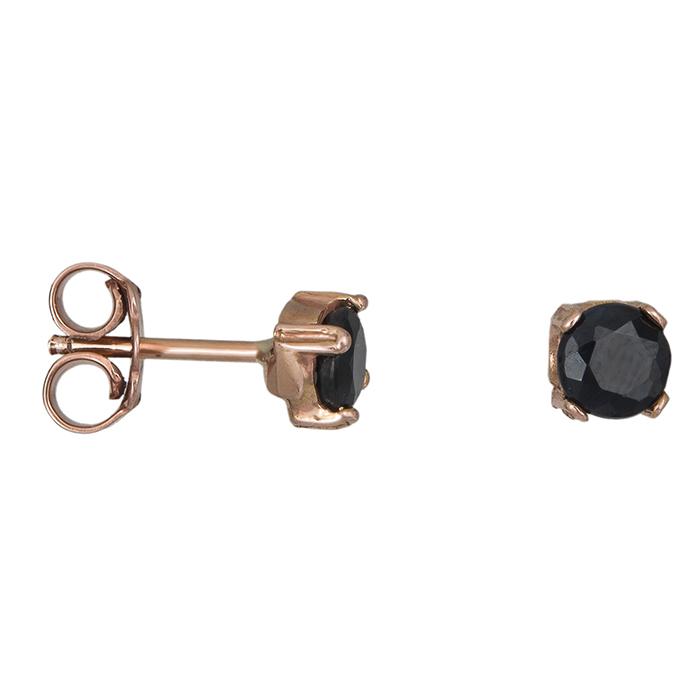 Ροζ gold σκουλαρίκια Κ14 με μαύρη ζιργκόν 026714 026714 Χρυσός 14 Καράτια
