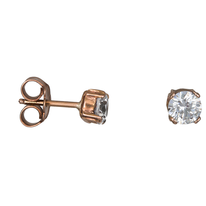 Ροζ gold σκουλαρίκια Κ14 με λευκή ζιργκόν 026715 026715 Χρυσός 14 Καράτια
