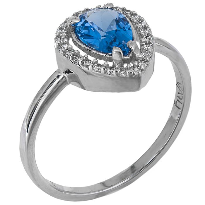 Λευκόχρυσο δαχτυλίδι ροζέτα Κ9 με γαλάζια πέτρα 026725 026725 Χρυσός 9 Καράτια