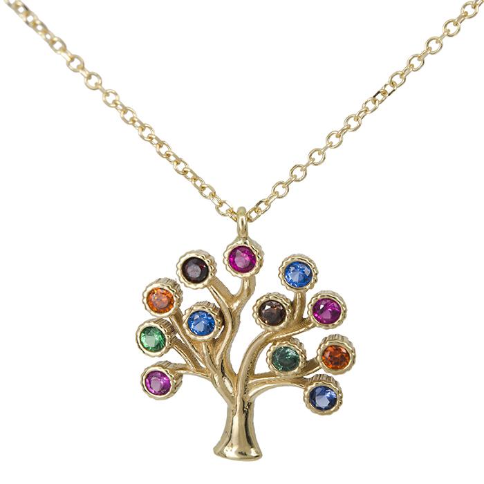 Χρυσό κολιέ δέντρο της ζωής Κ14 με ζιργκόν 026731 026731 Χρυσός 14 Καράτια