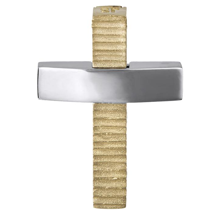 Σταυροί Βάπτισης - Αρραβώνα Δίχρωμος αντρικός σταυρός Κ14 διπλής όψεως 026751 026751 Ανδρικό Χρυσός 14 Καράτια