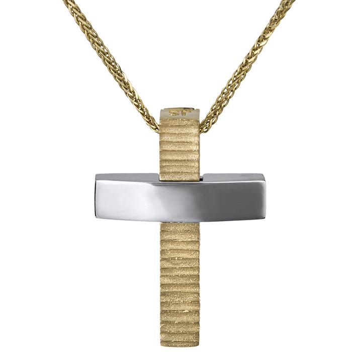 Βαπτιστικοί Σταυροί με Αλυσίδα Αντρικός σταυρός Κ14 διπλής όψεως με αλυσίδα 026751C 026751C Ανδρικό Χρυσός 14 Καράτια