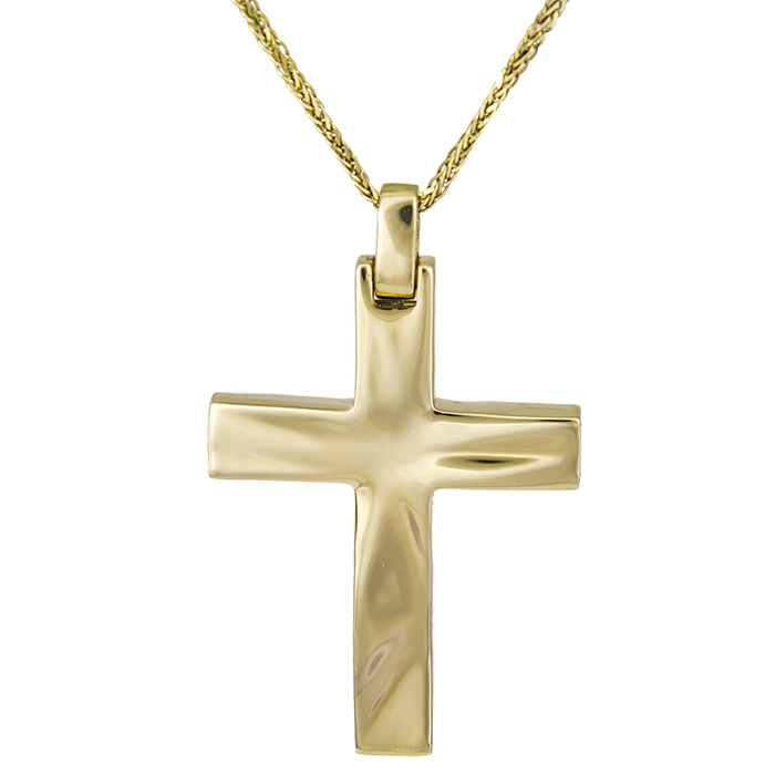 Βαπτιστικοί Σταυροί με Αλυσίδα Χρυσός σταυρός Κ14 με αλυσίδα 026764C 026764C Ανδρικό Χρυσός 14 Καράτια