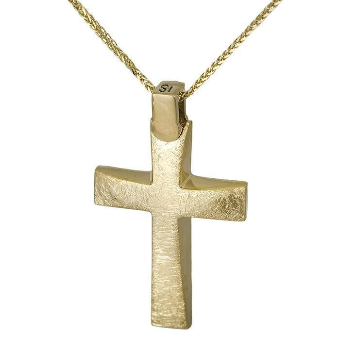 Βαπτιστικοί Σταυροί με Αλυσίδα Χρυσός σταυρός Κ14 ματ με αλυσίδα 026766C 026766C Ανδρικό Χρυσός 14 Καράτια