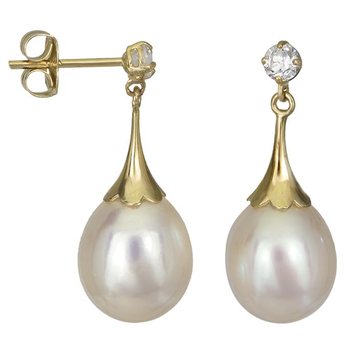 Χρυσά σκουλαρίκια με μαργαριτάρια και ζιργκόν 026777 026777 Χρυσός 14 Καράτια